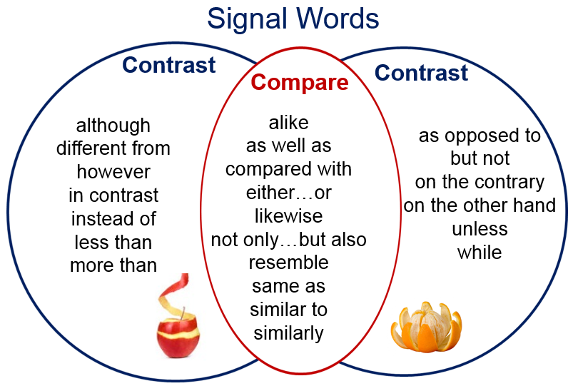 Compare contrast essay connecting words